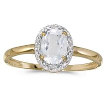 Certified 10k Yellow Gold Oval White Topaz And Diamond Ring 0.94 CTW #PAPPS51129