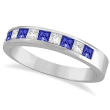 Princess-Cut Tanzanite and White Diamond Ring 14k White Gold (0.75ct) #PAPPS20675