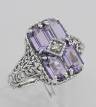 Antique Style Four Stone Amethyst / Diamond Filigree Ring Sterling Silver #98120v2