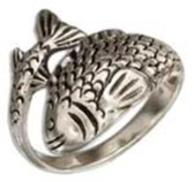 STERLING SILVER WRAP AROUND FISH RING #17655v3