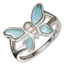 STERLING SILVER CUBIC ZIRCONIA AND LARIMAR BUTTERFLY RING #17676v3