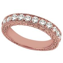 Antique Style Pave Set Wedding Ring Band 14k Rose Gold (1.00ct) #PAPPS21017