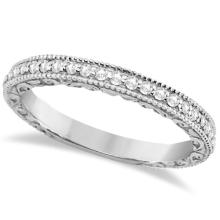 Milgrain and Filigree Diamond Wedding Band 14kt White Gold (0.20ct.) #PAPPS20894