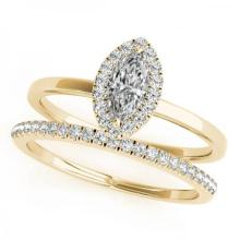 CERTIFIED 14KT YELLOW GOLD 0.88 CT (J-K/SI3-I1) DIAMOND HALO BRIDAL SET #PAPPS85226