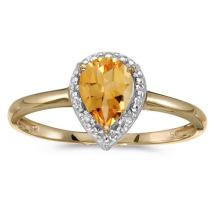 Certified 14k Yellow Gold Pear Citrine And Diamond Ring 0.54 CTW #PAPPS51394