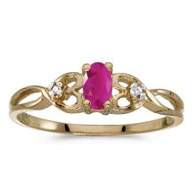 Certified 14k Yellow Gold Oval Ruby And Diamond Ring 0.2 CTW #PAPPS51424