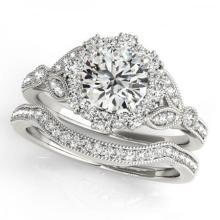 CERTIFIED PLATINUM 1.43 CTW (G-H/VS-SI1) DIAMOND HALO BRIDAL SET #PAPPS85053