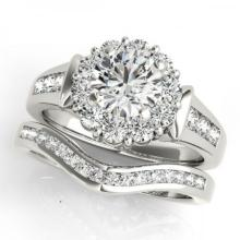 CERTIFIED PLATINUM 1.10 CTW (G-H/VS-SI1) DIAMOND HALO BRIDAL SET #PAPPS85054