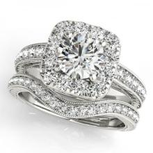 CERTIFIED PLATINUM 1.16 CTW (G-H/VS-SI1) DIAMOND HALO BRIDAL SET #PAPPS85051