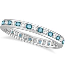 Blue and White Diamond Channel Set Eternity Ring Band 14k Gold (1.00ct) #PAPPS20749