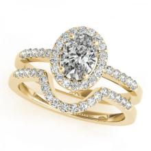 CERTIFIED 18KT YELLOW GOLD 1.30 CT (J-K/SI3-I1) DIAMOND HALO BRIDAL SET #PAPPS85224
