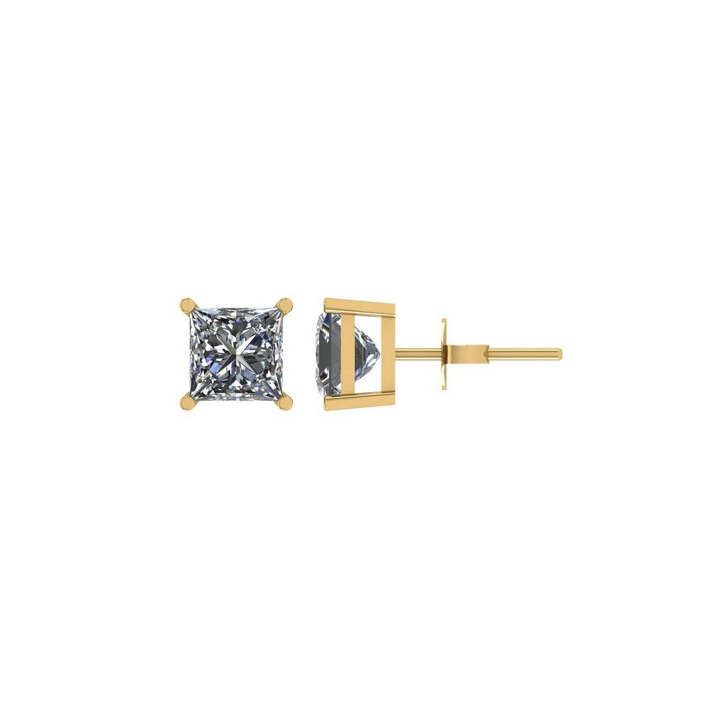 Certified 1 CTW Princess Diamond Stud Earrings D/I1 In