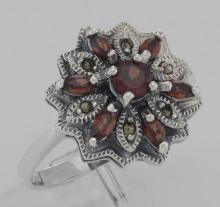 Victorian Style Floral Design Red Garnet and Marcasite Ring - Sterling Silver #PAPPS97941