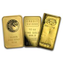 10 oz Gold Bar - Brand Name (one piece per lot) #PAPPS75115