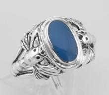 Unique Dragonfly Design Blue Agate Ring - Sterling Silver #PAPPS97950