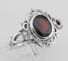 Classic Antique Style Genuine Garnet Ring - Sterling Silver #PAPPS97921