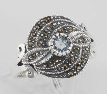 Brilliant Blue Topaz Gemstone and Marcasite Ring - Sterling Silver #PAPPS97945