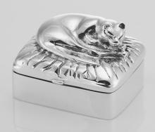 Vintage Style Napping Cat Sterling Silver Pillbox #PAPPS97910