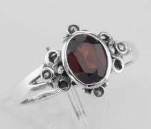 Cute 3/4 Carat Genuine Red Garnet and Marcasite Ring - Sterling Silver #PAPPS97922