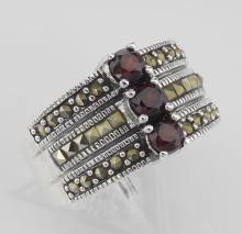 3 Stone Genuine Red Garnet and Marcasite Ring - Sterling Silver #PAPPS97926