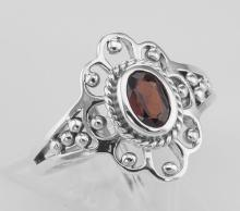Antique Style Genuine Red Garnet Ring - Sterling Silver #PAPPS97924
