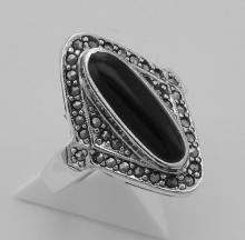 Onyx and Marcasite Ring - Sterling Silver #PAPPS97912