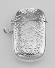 Antique Style Floral Leaves Vesta Match Safe Holder Case - Sterling Silver #PAPPS97900