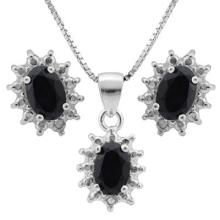 1.96 CTW DYED GENUINE SAPPHIRE and GENUINE DIAMOND PLATINUM PLATED .925 STERLING SILVER SET #PAPPS99485
