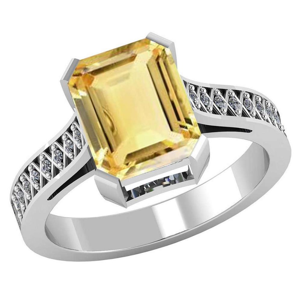 Certified 2.85 CTW Genuine Citrine And Diamond 14K White Gold Ring #PAPPS92148
