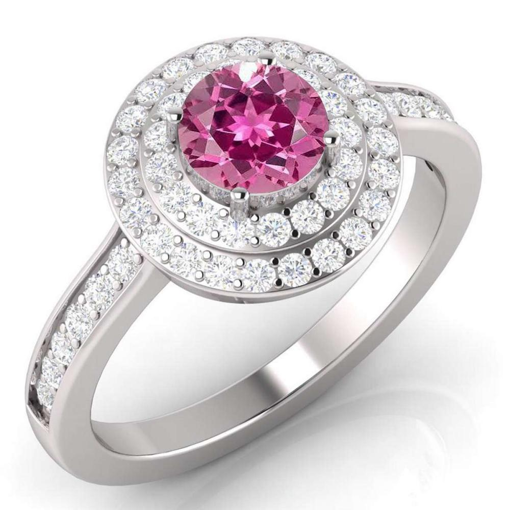 Certified 1.70 CTW Genuine Pink Tourmaline And Diamond 14K White Gold Ring #PAPPS91937