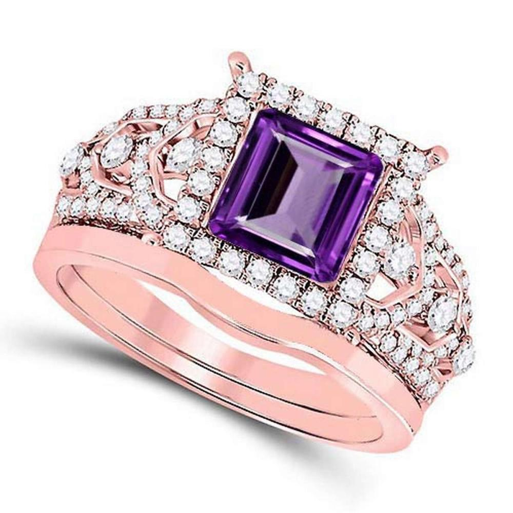Certified 1.95 CTW Genuine Amethyst And Diamond 14K Rose Gold Ring #PAPPS91338