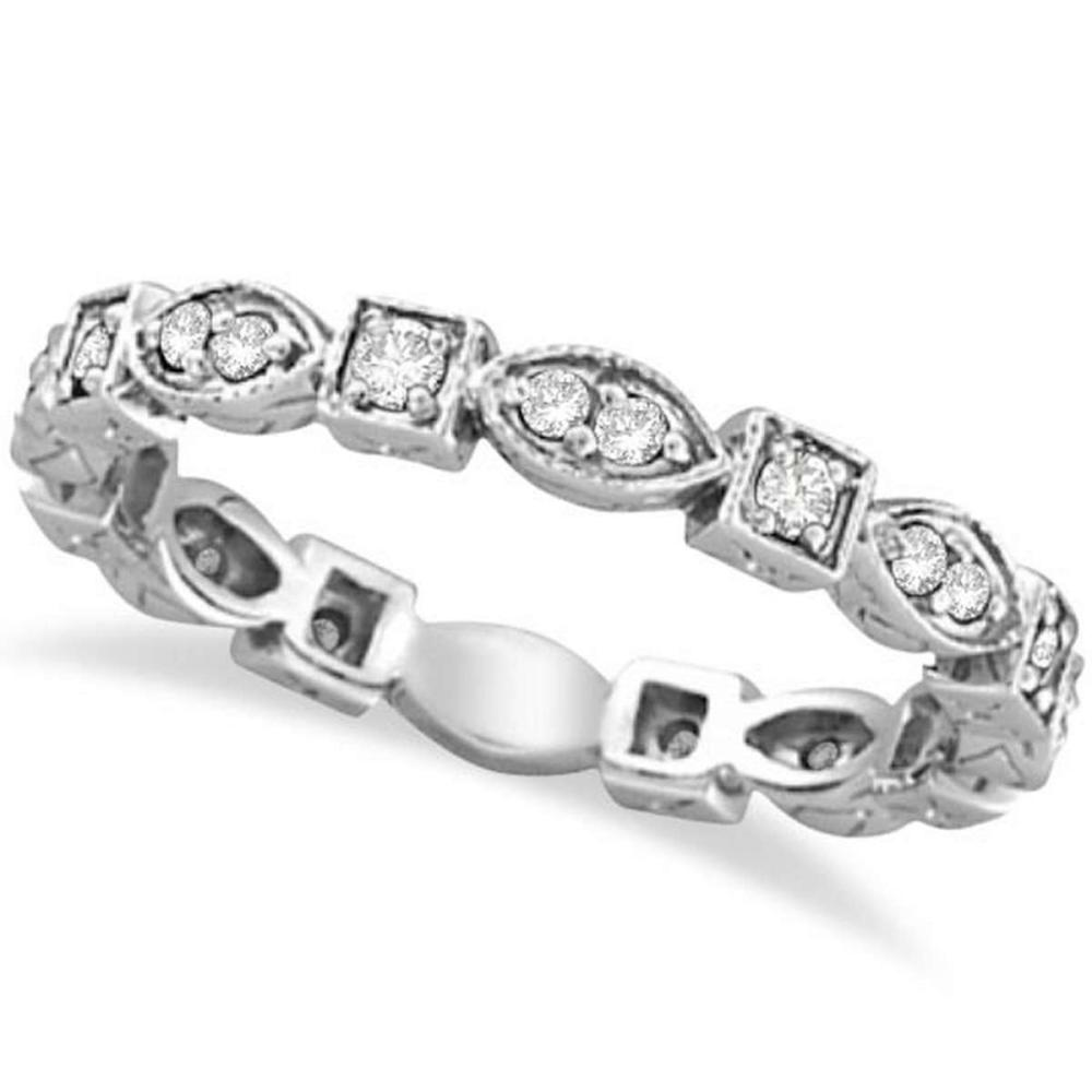 Antique Style Diamond Eternity Ring Band in 14k White Gold (0.36ct) #PAPPS20464