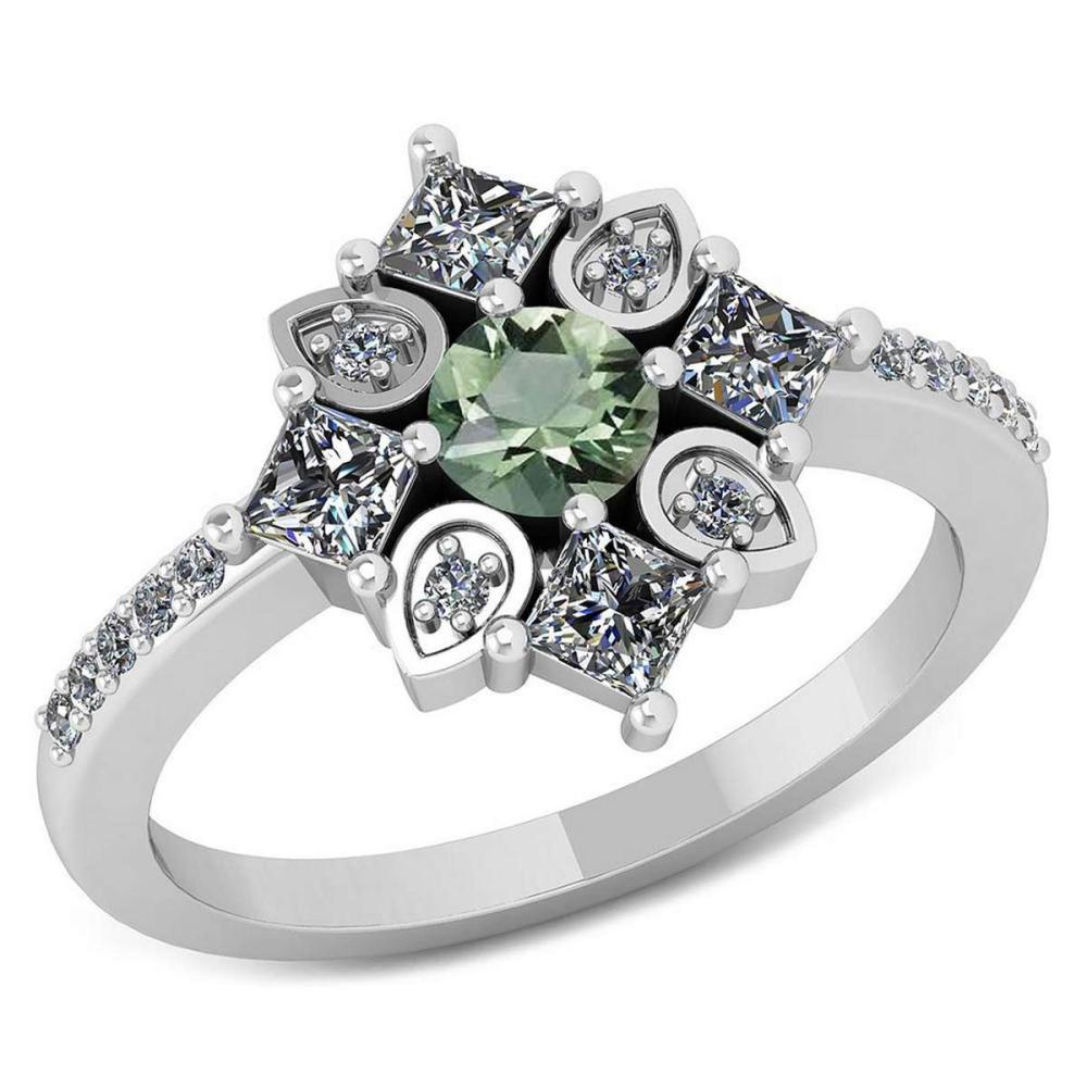Certified .94 CTW Genuine Green Amethyst And Diamond 14K White Gold Ring #PAPPS91800