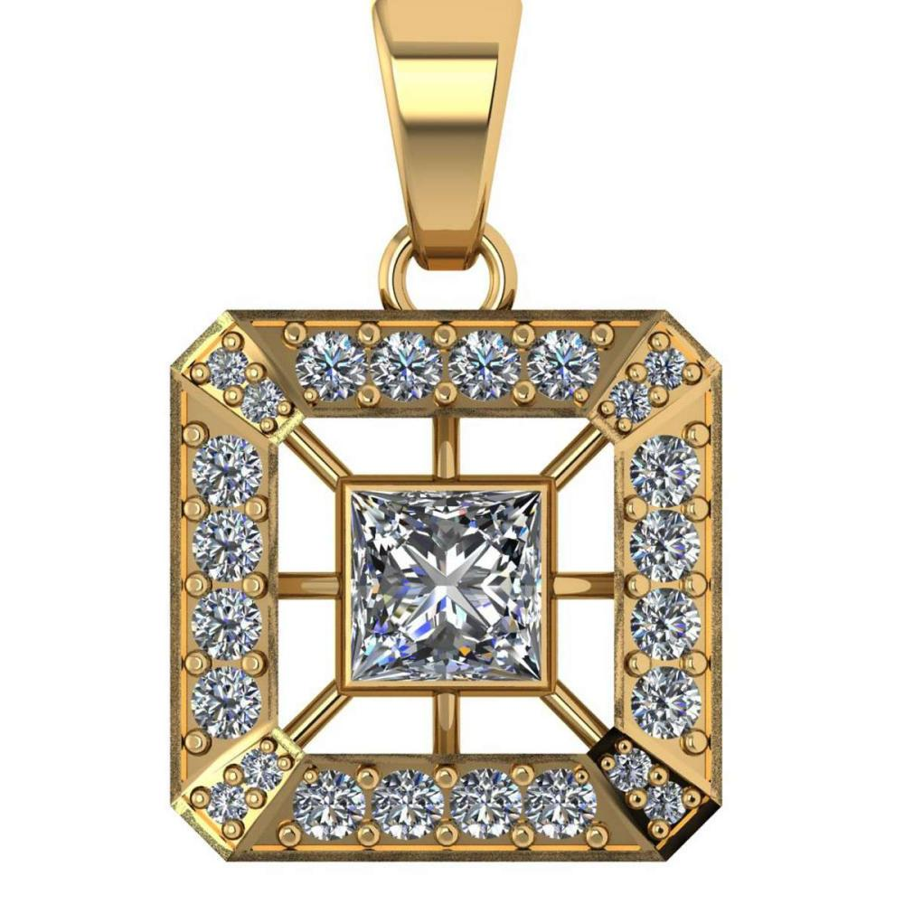 Certified .75 CTW Princess and Round Diamond 14K Yellow Gold Pendant #PAPPS92101