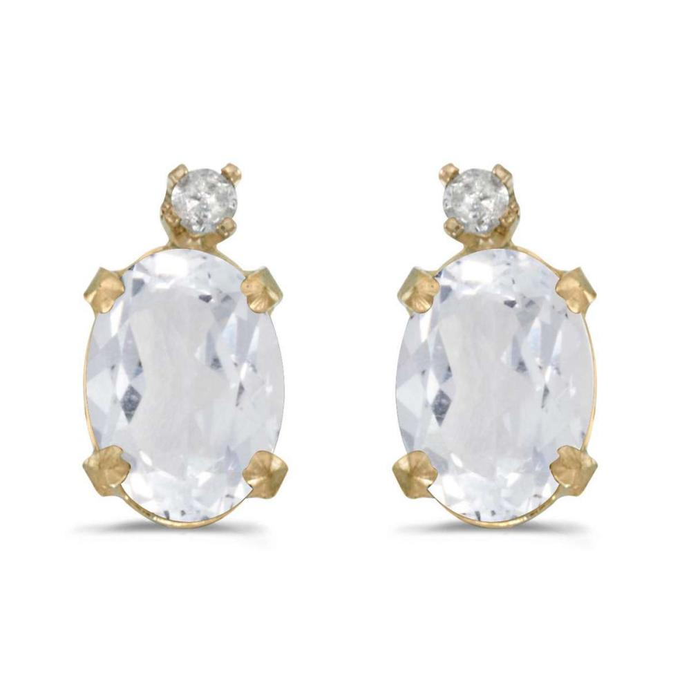 Certified 14k Yellow Gold Oval White Topaz And Diamond Earrings 1.88 CTW #PAPPS25012