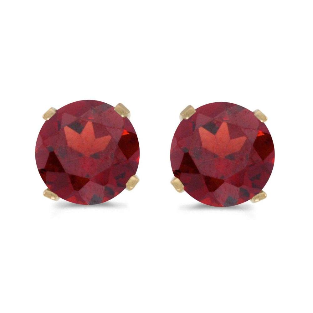 Certified 5 mm Natural Round Garnet Stud Earrings Set in 14k Yellow Gold 1 CTW #PAPPS25010