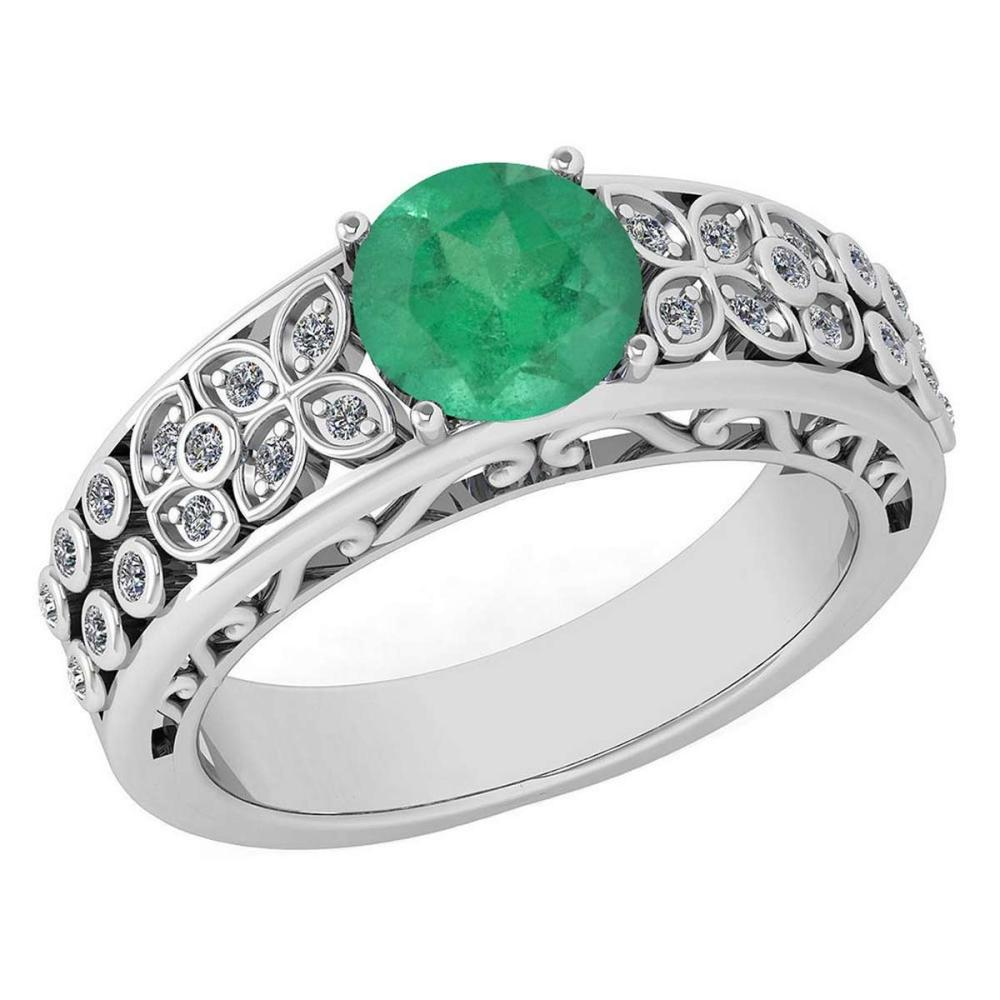 Certified 1.42 Ctw Emerald And Diamond Wedding/Engagement 14K White Gold Halo Ring #PAPPS16792
