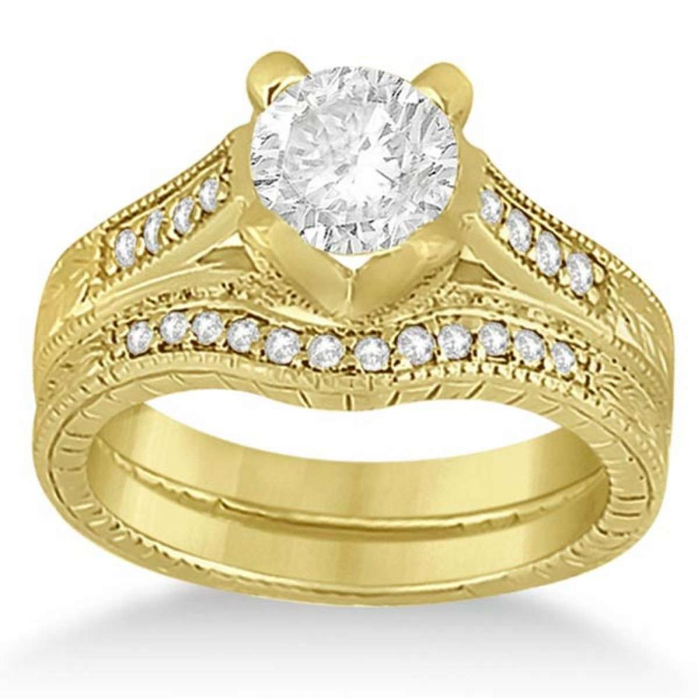 Antique Style Engagement Ring Set 18k Yellow Gold 1.10 ctw  #PAPPS20845