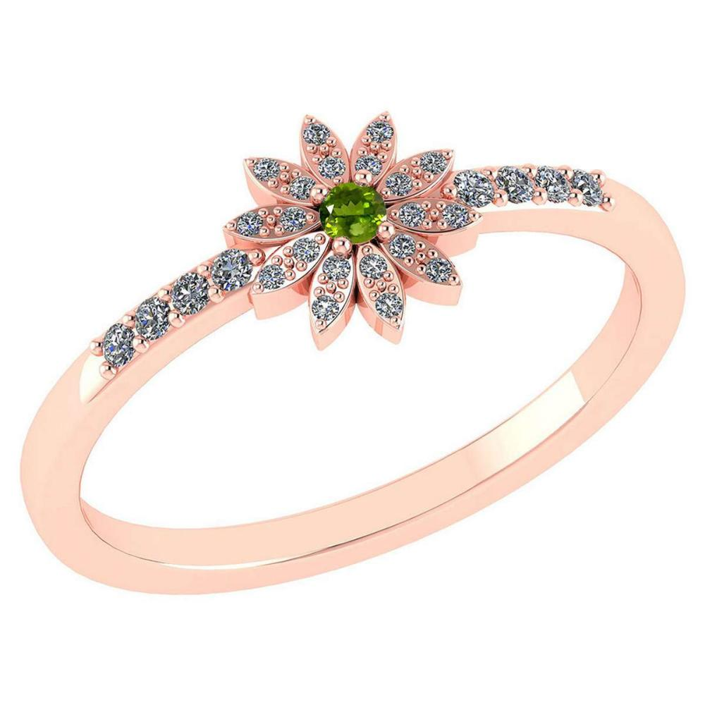 Certified .16 CTW Genuine Peridot And Diamond 14K Rose Gold Ring #PAPPS93509