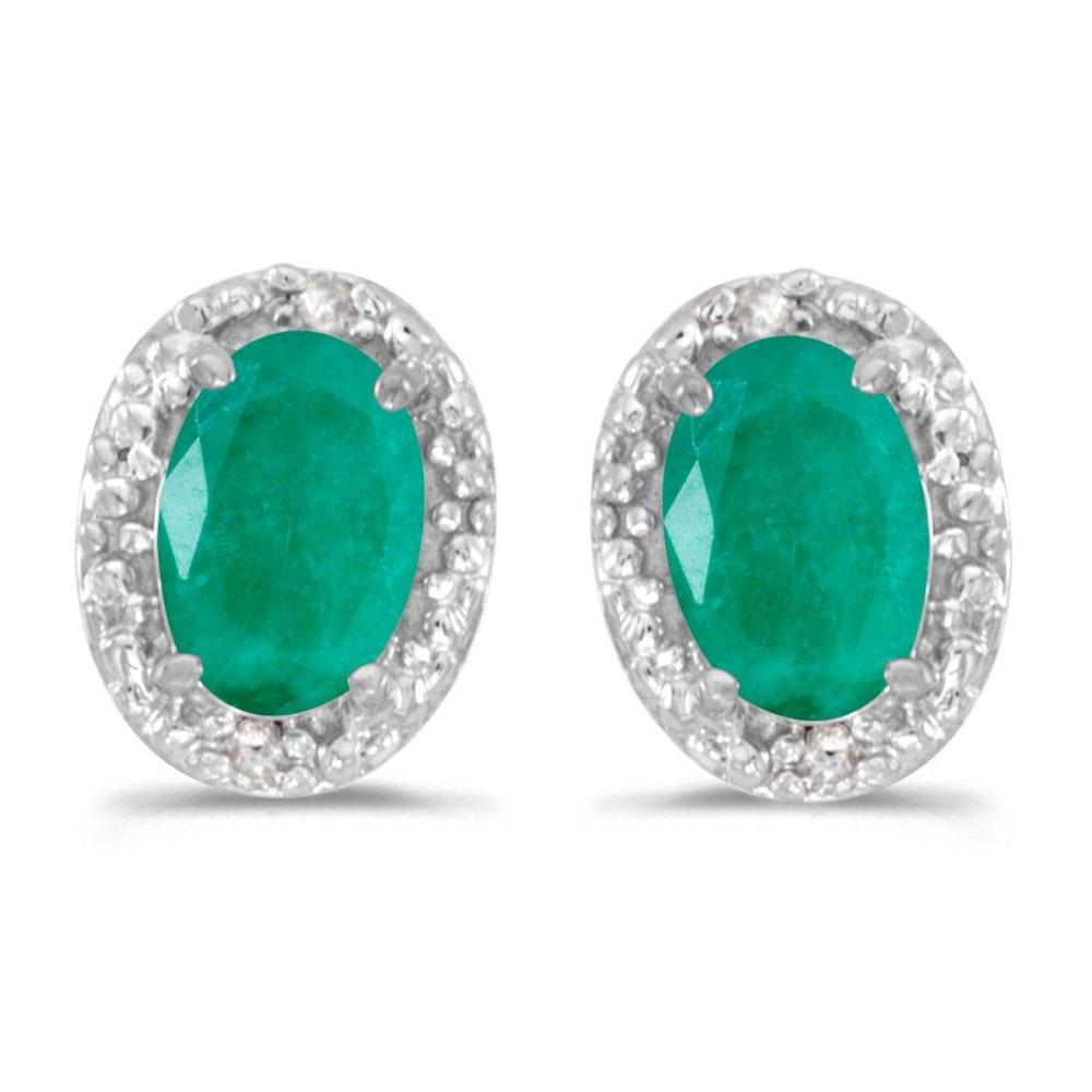 Certified 14k White Gold Oval Emerald And Diamond Earrings 0.64 CTW #PAPPS25038