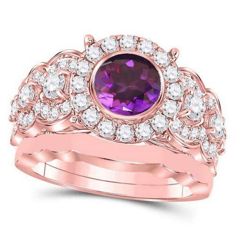 Certified 3.50 CTW Genuine Amethyst And Diamond 14K Rose Gold Ring #PAPPS91390