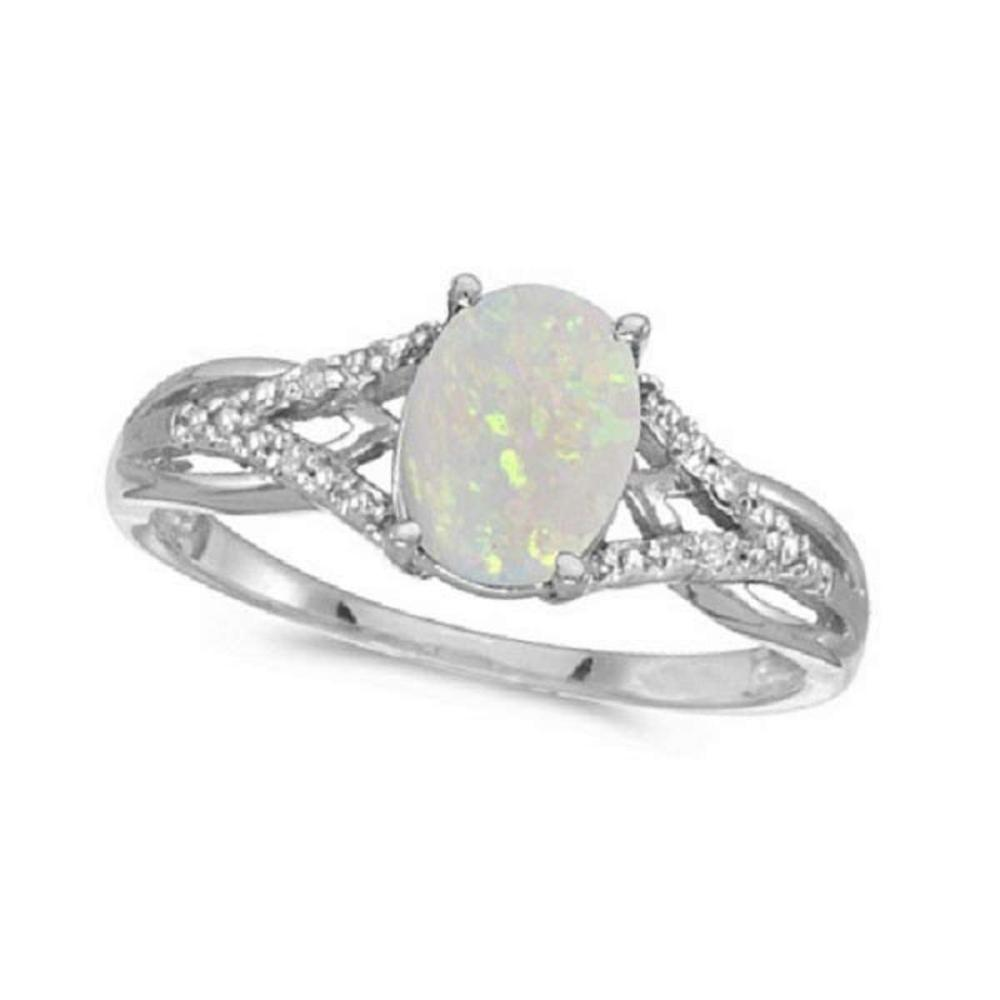 Oval Opal and Diamond Cocktail Ring 14K White Gold (0.70ctw) #PAPPS20399