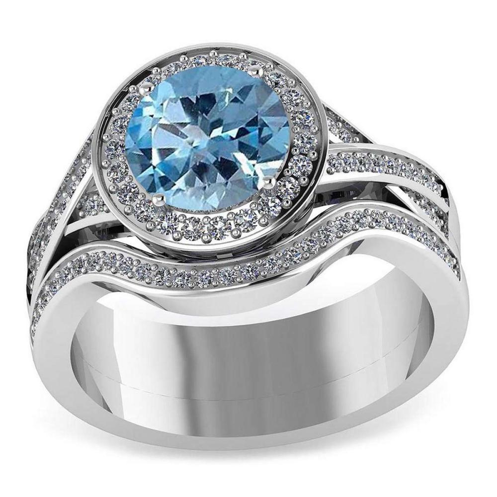 Certified 2.15 CTW Genuine Aquamarine And Diamond 14K White Gold Ring #PAPPS91437