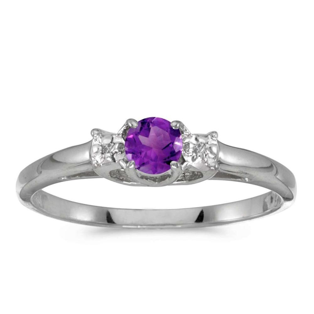 Certified 10k White Gold Round Amethyst And Diamond Ring 0.17 CTW #PAPPS25566