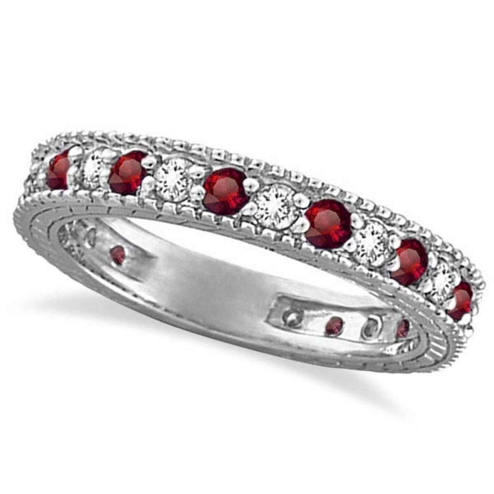 Diamond and Garnet Eternity Ring Filigree Band 14k White Gold (1.08ctw) #PAPPS20813