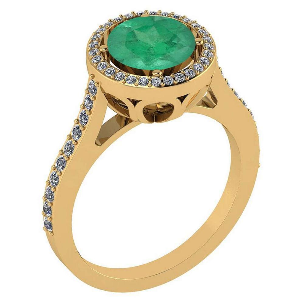 2.23 Ctw Emerald And Diamond 14k Yellow Gold Halo Ring #PAPPS96804