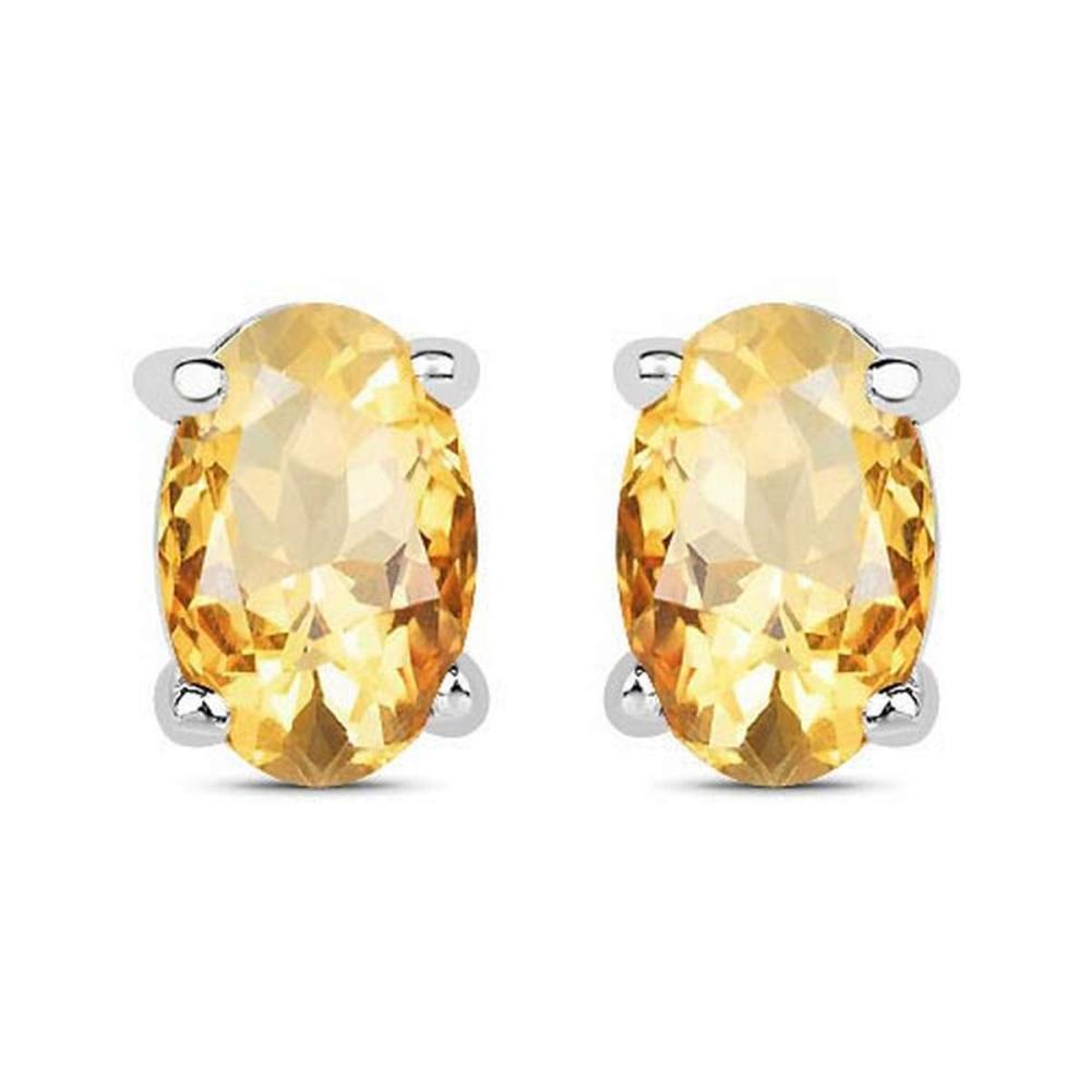 4.30 CTW Genuine Citrine And 14K White Gold Earrings #PAPPS91322