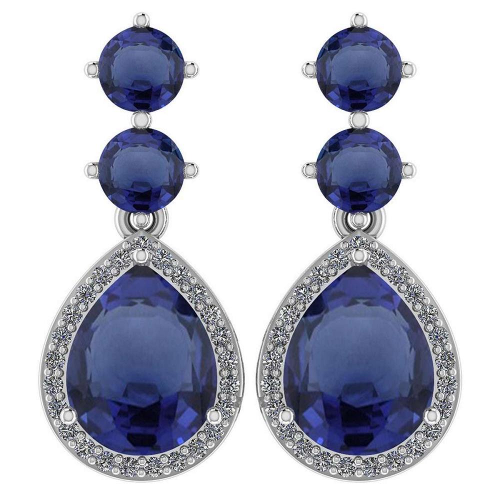 Certified 5.17 Ctw Blue Sapphire And Diamond 14k White Gold Halo Dangling Earrings #PAPPS95358