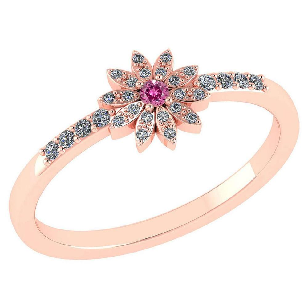 Certified .16 CTW Genuine Pink Tourmaline And Diamond 14K Rose Gold Ring #PAPPS93505