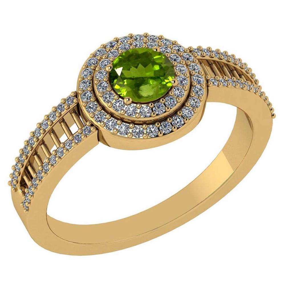 0.78 Ctw Peridot And Diamond 14k Yellow Gold Halo Ring #PAPPS96762